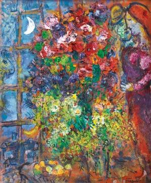 Chagall Les amoureux aux fleurs devant la fenêtre