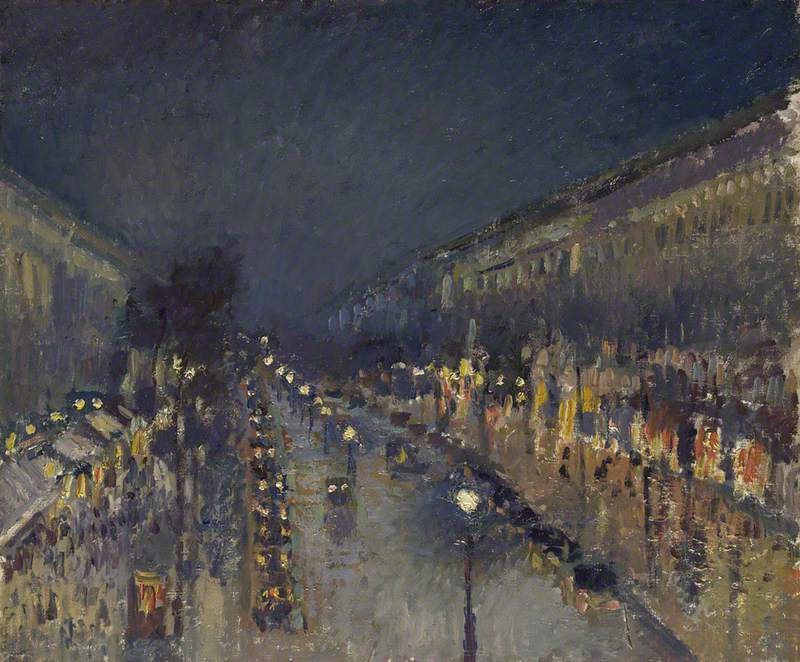 Pissarro, Camille, 1830-1903; The Boulevard Montmartre at Night
